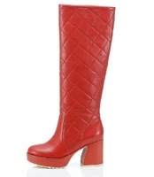 Single high-heeled boots female boots autumn and winter tall genuine soft leather boots red,black color,wholesale,Free shipping