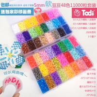 5mm hama beads 48 colors 9,000pcs box set(1 big template+2iron papers+1tweezers) fuse/perler beads diy educational toys craft