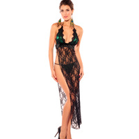 Wholesale New peacock colors black lace sexy sleepwear pajamas for women nightgown+G-string sexy lingerie Long sexy costumes