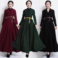 9918 2014 autumn long design wool overcoat slim women's brief turn-down collar thick wool outerwear