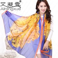 2014 ultra long autumn and winter female slanting stripe silk scarf sun beach towel summer scarf large cape