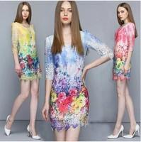 2014 Autumn Dress hydrotropic print lace cutout dress fashion slim hip Women's Fashion New