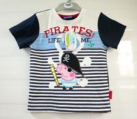 HOT! 2014 george boy tee summer Peppa pig pink pig george t-shirts Dinosaur 100% cotton short-sleeve T-shirt FREE SHIPPING
