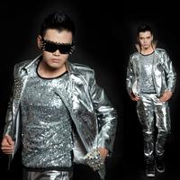 New Fashion Men's Silver Rivet  Leather Punk motorcycle costumes outwear Nightclub singer show Korean jacket costumes