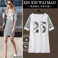 Fashion summer medium-long 14 paillette o-neck letter slim one-piece dress female short-sleeve