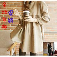 Free shipping 2014 maternity clothing fashion linen fluid nursing maternity dress long-sleeve dress