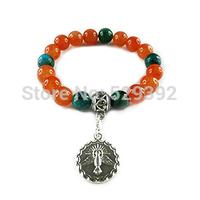 Free shipment 10mm colorful  semi-precious stones tms silver plated beads charms Bracelets JHSPBRZ022-JHSPBRZ030