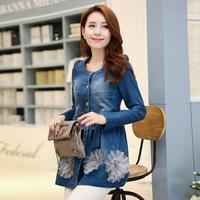 2014 autumn denim outerwear female medium-long casual double breasted denim trench outerwear female