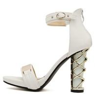 Nubuck women's sheepskin shoes metal paillette open toe high heels female sandals thick heel platform