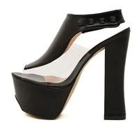 Fashion elegant high-heeled open toe shoe transparent sexy women's shoes thick heel platform elegant women's sandals