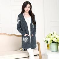 2014 loose long sweater fashion design full sleeve cardigan outerwear female