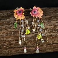 Petty bourgeoisie les nereides enamel glazed daisy flower pink pendant tassel earrings