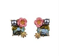 Romantic les nereides enamel glaze pink rose green gem stud earring earrings