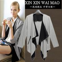 2014 loose chiffon patchwork women's cardigan all-match irregular long-sleeve outerwear female