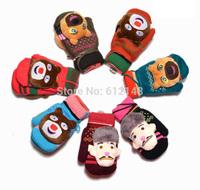 Reatil New Fashion Cartoon Boonie Bears Children Wrist Winter Gloves Soft Warm Baby knitted Mittens with Fleece for 3-8T