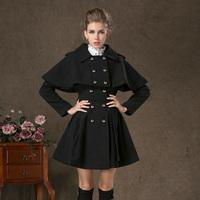 58113 2014 winter twinset cloak double breasted slim waist expansion bottom woolen outerwear