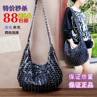 2014 vintage rivet punk women's handbag water wash denim bag portable one shoulder cross-body women's handbag bag