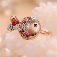 Rhinestone  Clownfish Korean fashion diamond ring ring tail ring of small fresh female   Free shipping