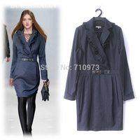 High Quality 2014 New Autumn Winter European & American Big Catwalk Fashion Classic Collar Striped Office Dress Women Work Wear