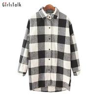 Autumn long-sleeve thickening loose shirt female vintage medium-long plaid shirt female outerwear