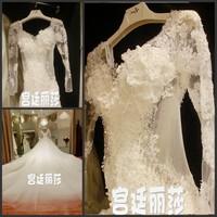 Free shipping 2014 wedding bandage tube top train wedding dress bride big trailing lace princess backless