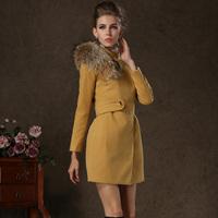58103 high quality fox fur double faced fleece woolen overcoat