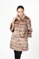 Luxury 2014 soft fox fur women's medium-long outerwear