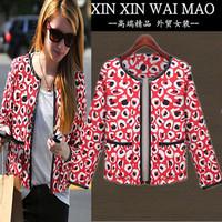 Fashion small short jacket female spring and autumn slim all-match print cardigan