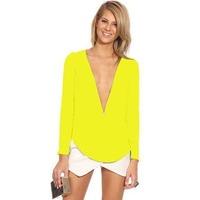 Women's fashion autumn 2014 zipper slim V-neck z4779 long-sleeve chiffon shirt