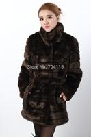 2014 women's slim  thickening mink fur coat medium-long overcoat