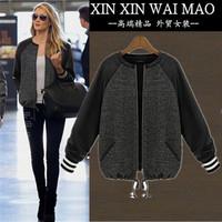 Fashion autumn women's PU patchwork top o-neck zipper-up straight female short jacket