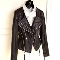 Womens 2014 High Quality Geniune Sheepskin Leather Short Jacket & Coat Autumn Spring Ladies Cloth Turn Down Collar Black 2XL 3XL