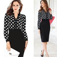Ebay dot polka dot elegant ol white collar patchwork knitted long-sleeve dress pencil