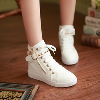 Spring and autumn lacing martin boots rivet flat shoes canvas shoes color block decoration boots comfortable high-top shoes