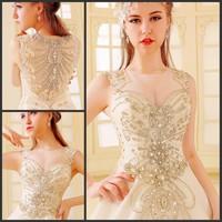 Ultimate luxury crystal wedding dress new arrival straps 2014 train wedding dress princess wedding dress