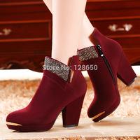 Women's high-heeled shoes fashion thick heel pointed toe rhinestone women's shoes soft zipper platform