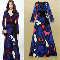 2014 Autumn Women one-piece dress fashion vintage ladies color block print velvet slim formal dress full dress