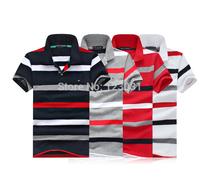 2014 men brief stripe loose t shirt turn down collar US fashion brand short sleeve t shirt male top tees