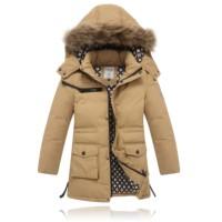 High End! 2014 Winter Children Boys Kids Long Design Fur Collar Hooded Down Jackets Fashion Thicken Warm Parkas Coats Outerwear