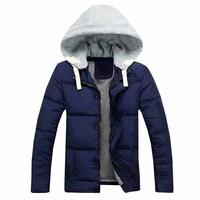 New arrivasl free shipping men winter cotton padded jacket slim fit hooded odown parka vercoat 4 colors M L XL XXL XXXL