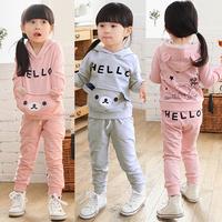 2014 autumn and winter bear girls clothing baby child casual fleece set tz-0475