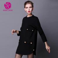 2014 fashion brief black loose one-piece dress large pocket long-sleeve short skirt