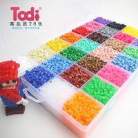 5mm hama beads 28 colors 18,000pcs box set(3 big template+2iron papers+2tweezers) fuse/perler beads diy educational toys craft