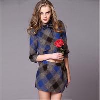 2014 women's ladies small plaid woolen set