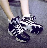 2014 genuine leather elevator shoes single female platform color block lacing shoes sneaker fashion hot selling women shoes
