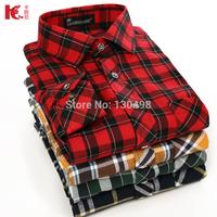 Free Shipping Flannel Men 2014 Autumn Male Plaid Shirt Casual Long-sleeve Thicken Brand Formal Business Fashion Dress Shirt