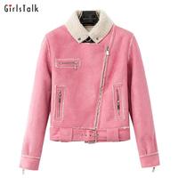 2014 fashion short jacket deerskin suede velvet slim motorcycle jacket outerwear female