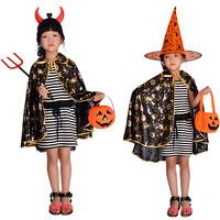 Child costume halloween pumpkin prom cape lacerna pumpkin mantissas cloak