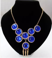 Free Shipping Fashion Red Blue Luxury Party necklace statement choker necklace women Necklaces & Pendants brand jewelry