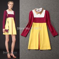 2014 Autumn High Quality Fashion Elegant Turn-Down Collar Color Block Decoration Full Sleeve Runway Women Dresses Free Shipping